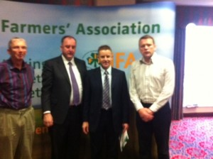 President of the Irish Farmers Association John Bryan and Representatives of the Donegal IFA Branch pictured at the IFA Pre-Budget lobby day in Dublin today Wednesday (24/10/12)