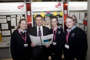 Pictured with Senator Brian O Domhnaill Donegal, were  students Ciara O' Boyle, Sarah Conwell and Leanne Hutchinson, from St. Catherine's Vocational School, Donegal with their project ' To compare ultraviolet protection in a variety of moisturisers',  at the 49th BT Young Scientist and Technology Exhibition 2013
