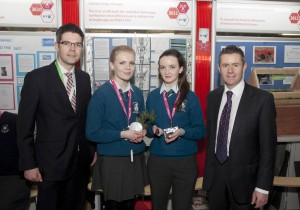 Pictured with Senator Brian O Domhnaill Donegal, with left, Padraig Whelton from BT ireland were students Aileen Hanson and Sheannagh Orr from Colaiste Ailigh Donegal, with their project ' Fiosru ar an difriocht idir caighdean fuaim agus cumhachta difriula' at the 49th BT Young Scientist and Technology Exhibition 2013