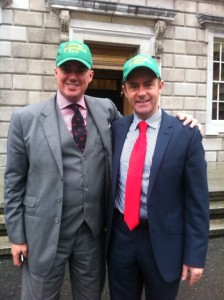 Senator Brian Ó Domhnaill meeting with Senator Christophe André Frassa at Leinster House today. Senator Ó Domhnaill presented Senator Frassa with a Donegal Gathering hat in order to promote the Donegal Gathering 2013.